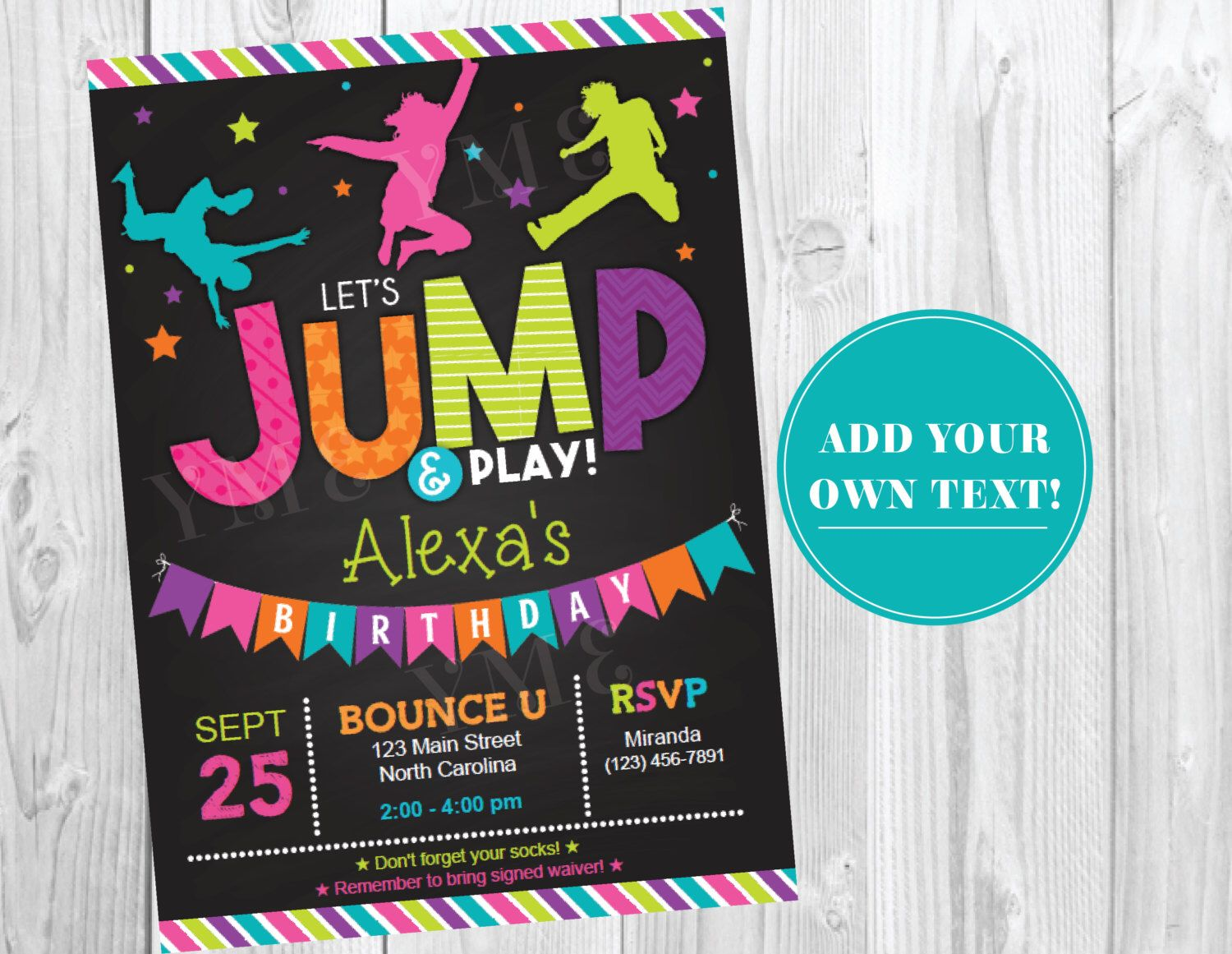 jump birthday invitation trampoline party invite bounce house birthday invitations instant. Black Bedroom Furniture Sets. Home Design Ideas