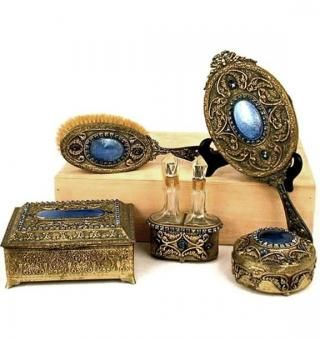Antique Guilloche Vanity Set: Louis XVI style 7-piece dresser set decorated with blue enamel guilloche, ornate gilt bronze and blue rhinestones.