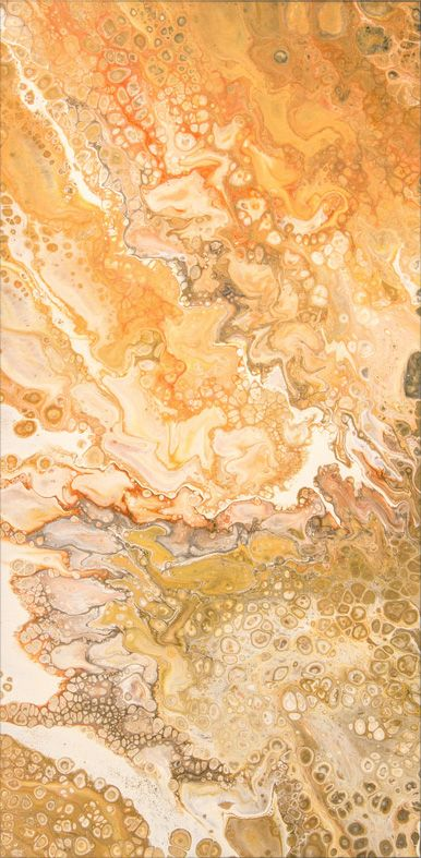 Juicy Orange | Acrylic cellular pour painting | 80 x 40 x 4 cm | For sale