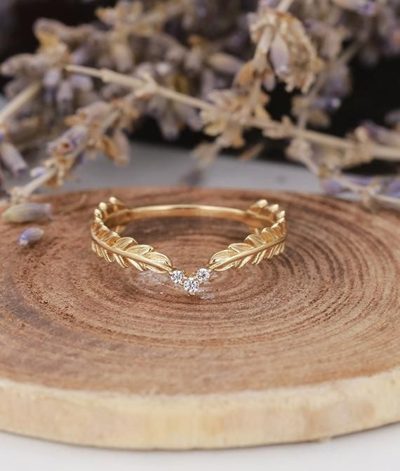Photo of Diamond wedding band Vintage women yellow Gold unique dainty Art Deco Antique wedding ring jewelry  Promise Anniversary gift for her