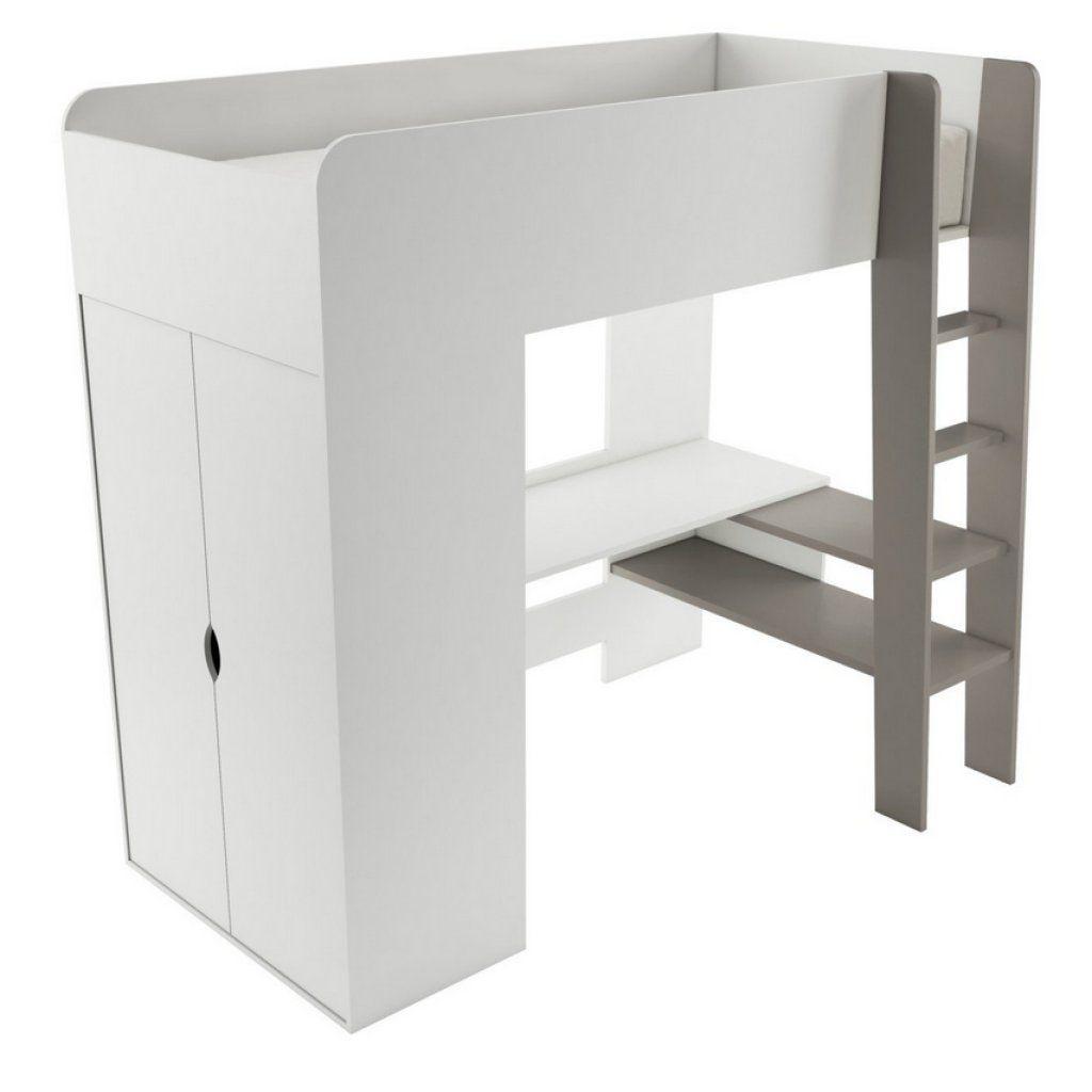 Lit Mezzanine avec bureau et armoire 3 en 1