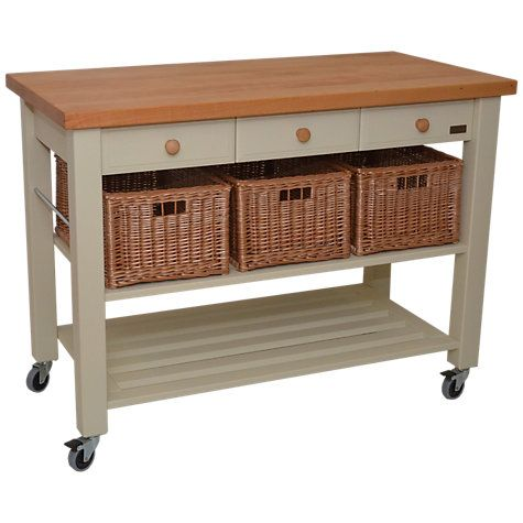 Kitchen Trolley Butcher Block : Eddingtons Lambourn 3 Drawer Beech Wood Butcher's Trolley, Grey House & home Kitchen trolley ...