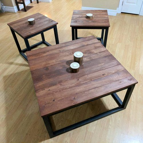 Large Contemporary Coffee Table End Table Set Solid Wood