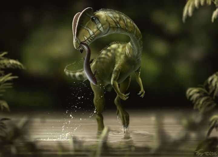 *Dilophosaurus wetherilii. Artwork by Yuriy Priymak