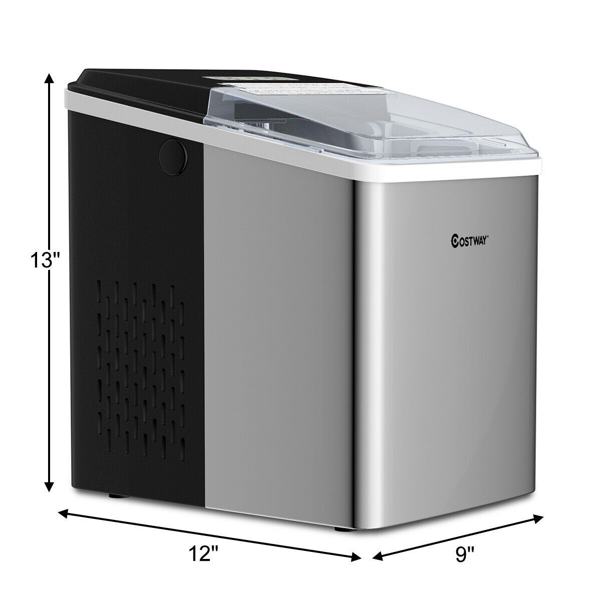 26 Lbs 24 H Self Clean Stainless Steel Ice Maker Cleaning Daily