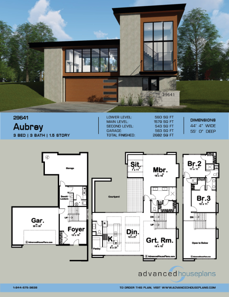 Aubrey 1 5 Story Modern House Plan Modern Style House Plans