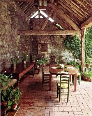 Rustic Outdoor Space, Love The Roof And Rock Wall!