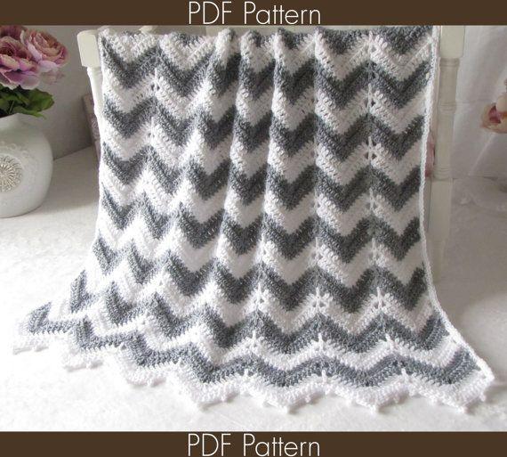 Crochet Pattern 55 Crochet Baby Blanket Pattern Chevron Series