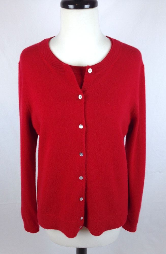 Lands End Sweater Cashmere Womens Red Long Sleeve Twin Set M ...