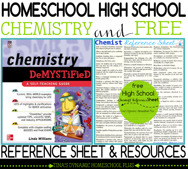 Homeschool High School Chemistry & Free Reference Sheet and Resources