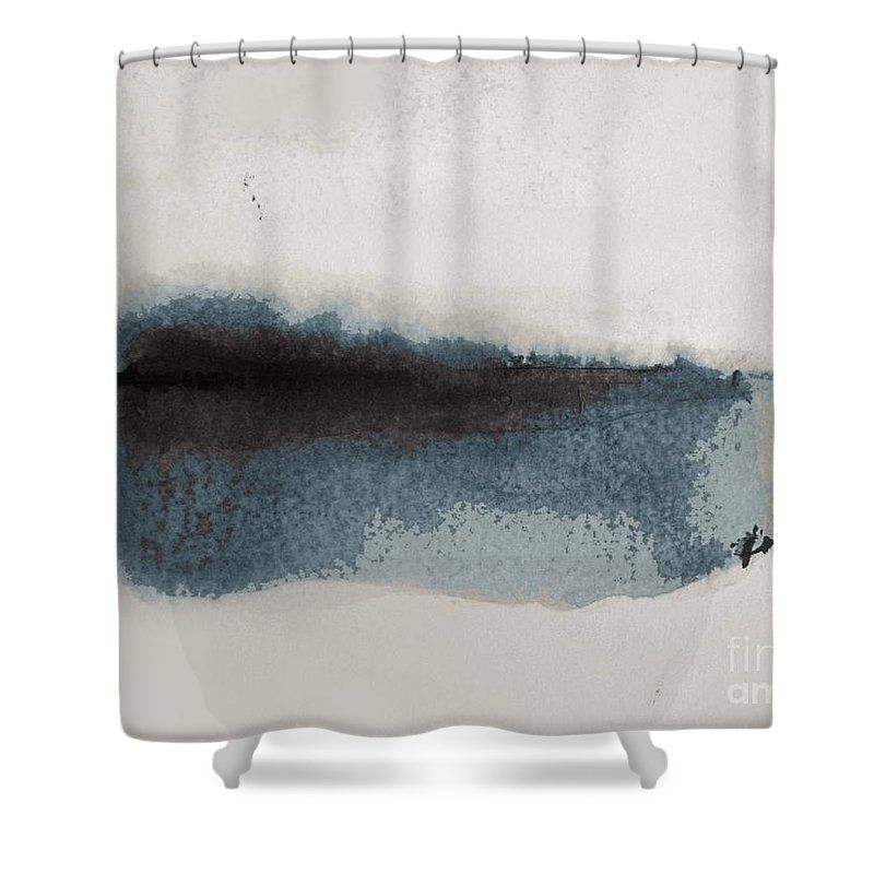 Navy Blue Lake Abstract Landscape By Vesma Antic Shower Curtain