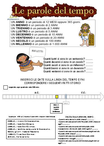 Schede Didattiche Sulla Linea Del Tempo Scuola Primaria Inserire I