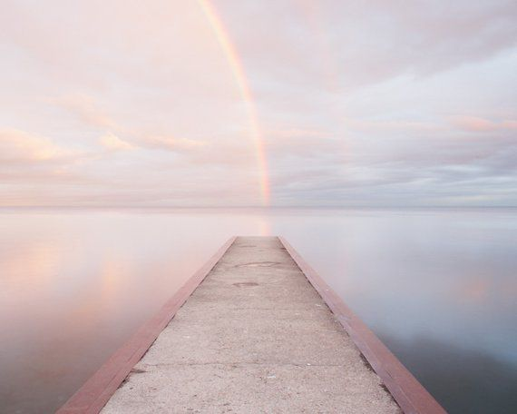 Rainbow photography.  Pink and blue beach photo. Toronto landscape picture. Relaxing wall art for be