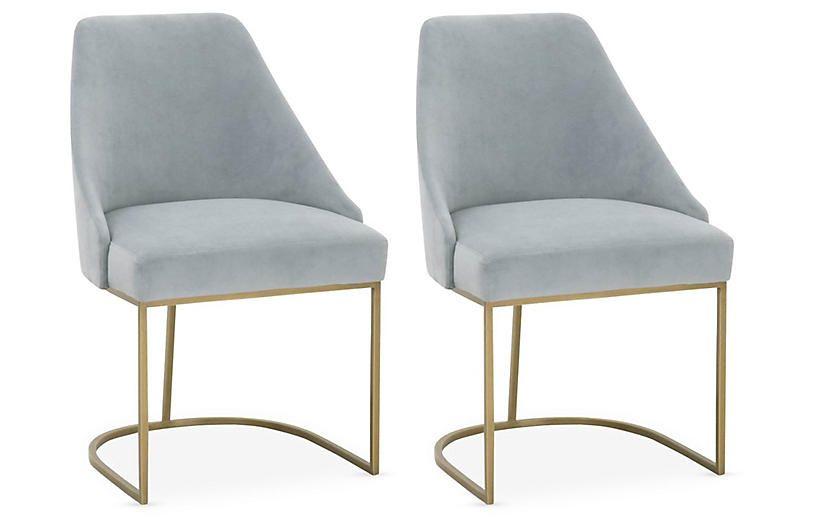 Set Of 2 Lola Side Chairs Coastal Velvet Frame Brushed Gold