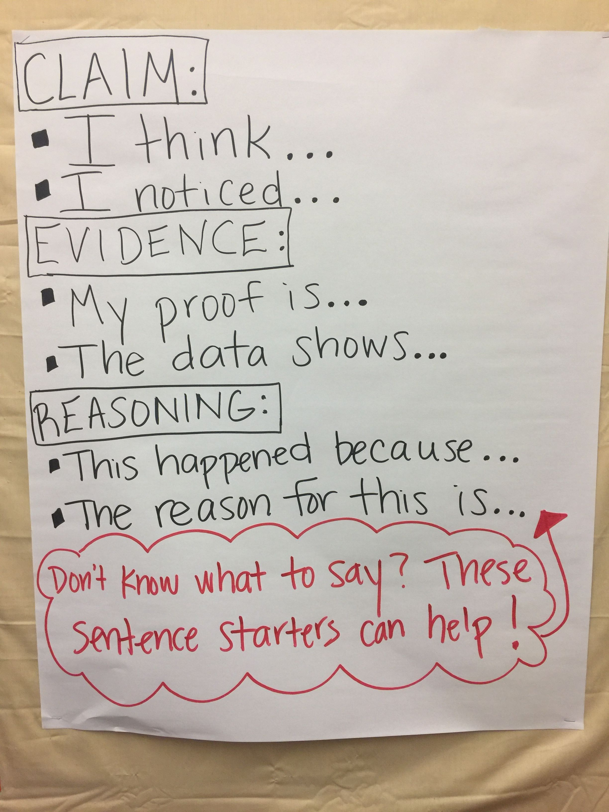Claim Evidence Reasoning Sentence Stems Anchor Chart