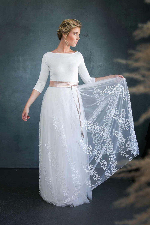 Abnehmbarer Braut Überrock mit 13D-Blätter-Tüll - Lillith