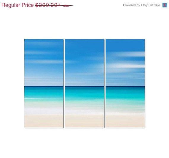 Beach Canvas Art 3 Panel Triptych Large Abstract Ocean Art