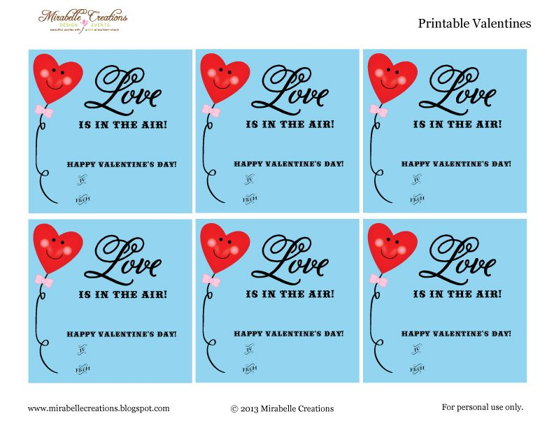 Free Printables} - Valentine\'s Day Class Cards -- Air Heads ...