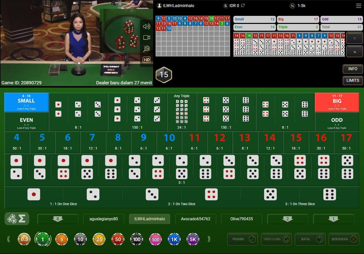 HALOTOTO LIVE GAME SICBO | Poker, Pelayan, Kartu