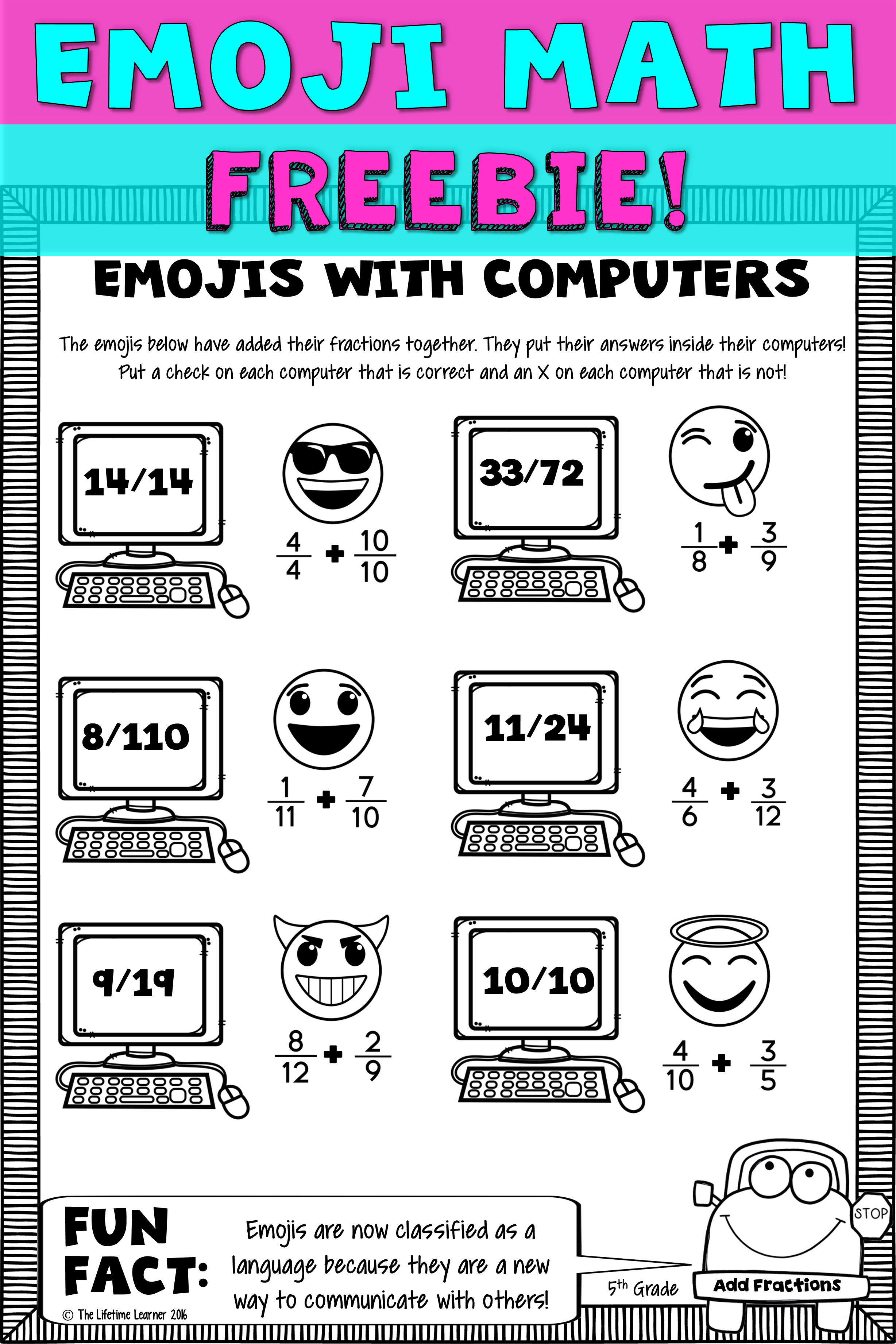 Fifth grade math is more fun with emojis! This freebie has 1 free ...
