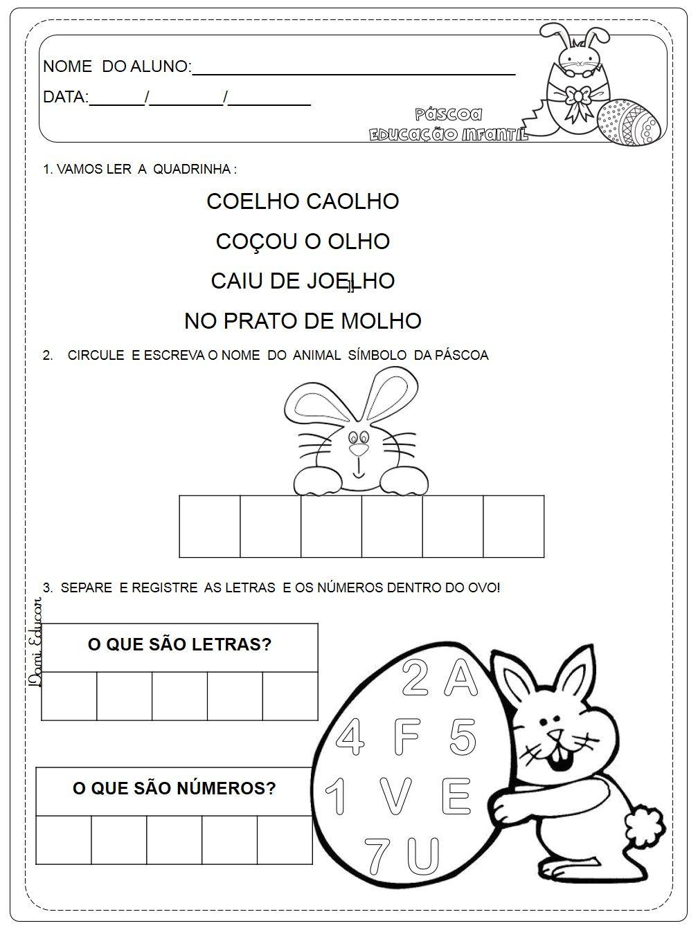 Atividades De Matematica Educacao Infantil Pascoa Pascoa