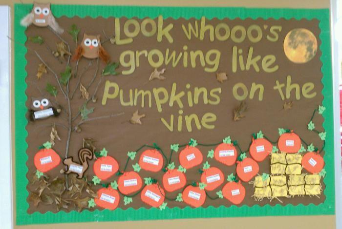 Look Whooo's Growing Like Pumpkins On The Vine! - Halloween Bulletin Board