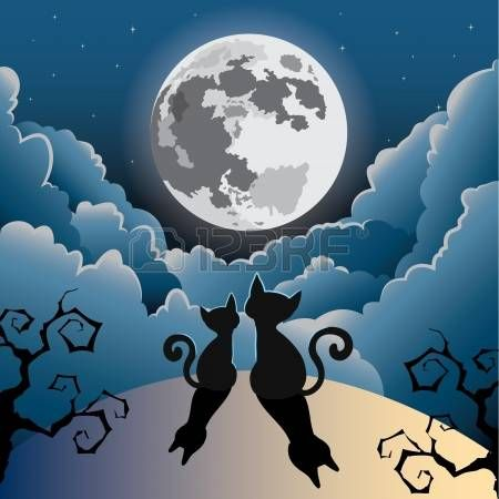 Luna Llena Dibujo Solueta Humana Buscar Con Google Ilustracion De Gato Ilustraciones De Gato Fotografia De La Luna