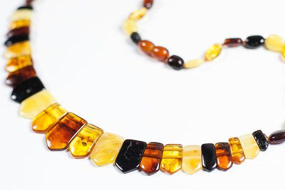 Luxury polished Baltic amber necklace via Etsy
