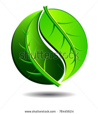 Green Symbol Concept Using Yin Yang In A Leaf Design Stock Vector