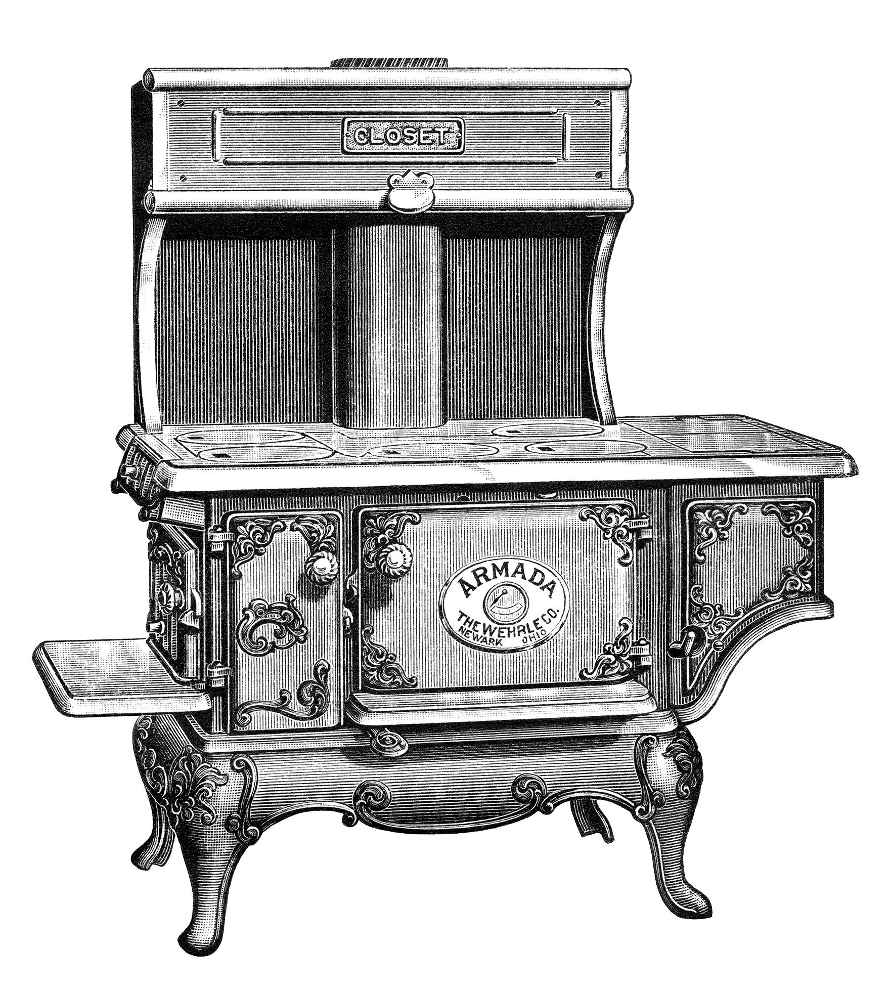 Old Fashioned Stove: Old Coal-Burning Stove Parts