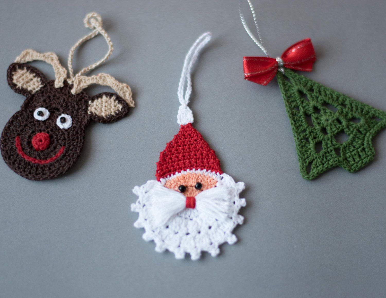 Crochet Christmas ornaments, Crochet Christmas decoration,Crochet set of 3  ornaments, Rudolph reindeer, Christmas tree and crochet Santa.