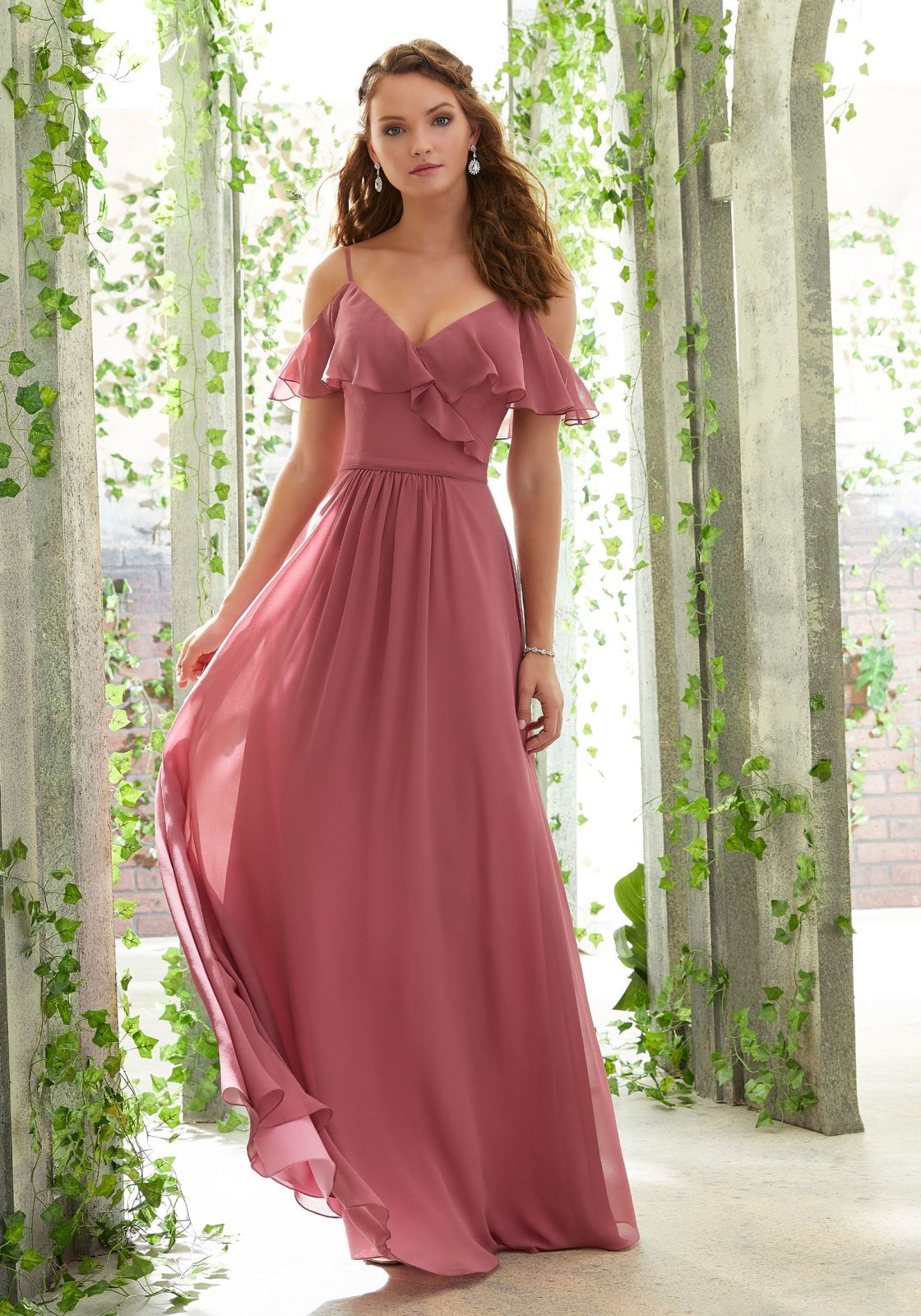 Morilee 21601 Chiffon Bridesmaid Dress with a Ruffled V-Neckline 121cf2300