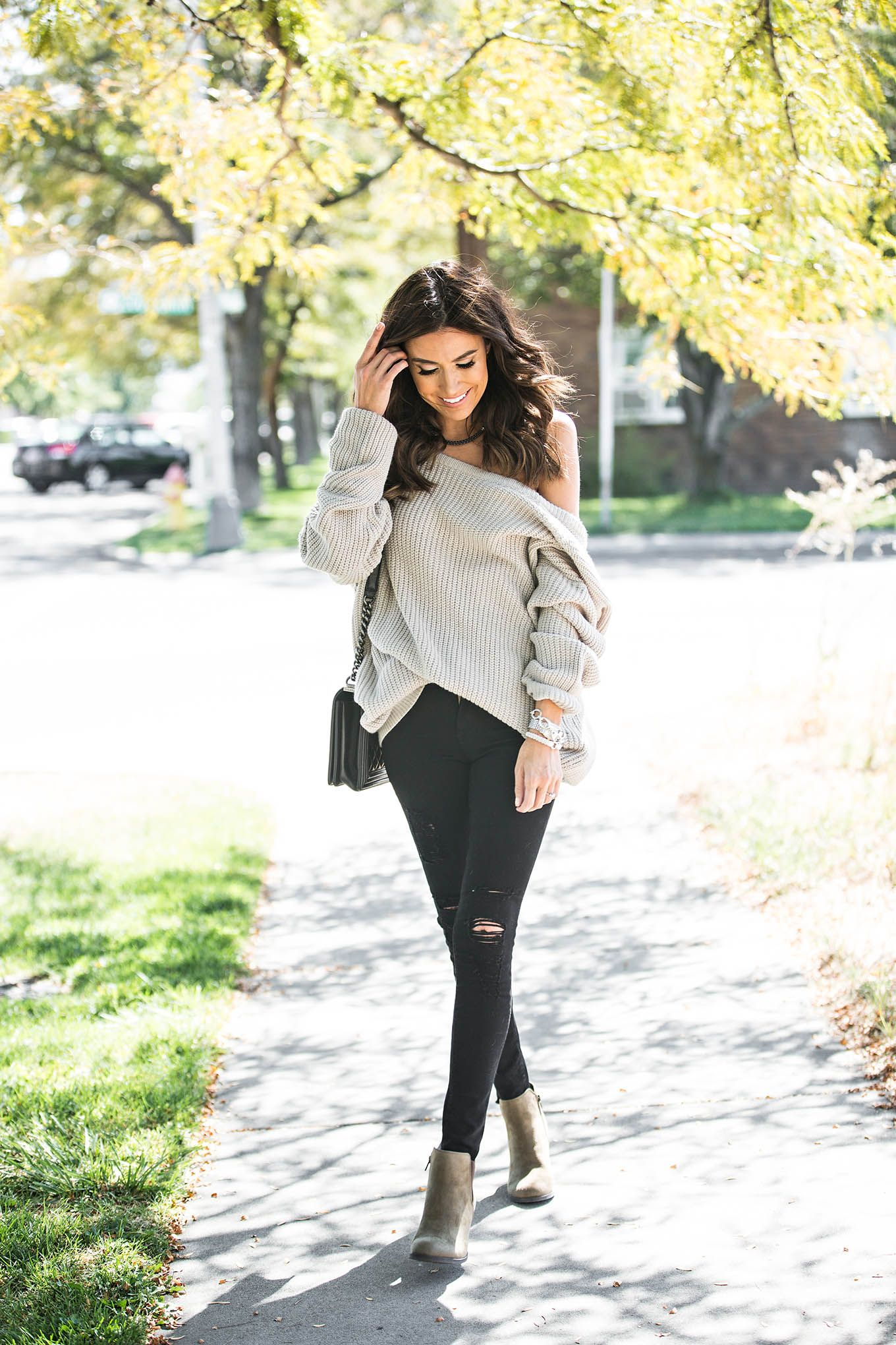 Hello Fashion. Natural off the shoulder sweater black ripped jeans ...