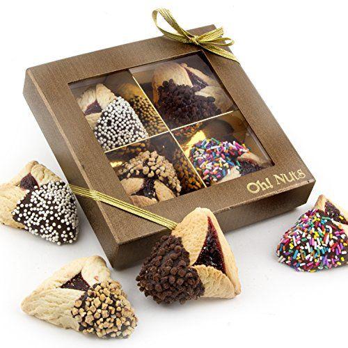 Purim Gift, Purim Hamantasch Gift, Chocolate Dipped Hamantashen Gift Box - Oh! Nuts (4 Pc. Chocolate Dipped Hamantaschen Gift Box)