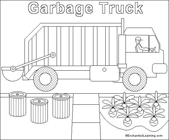 Garbage Truck Online Coloring Page Enchantedlearning Com Tegning