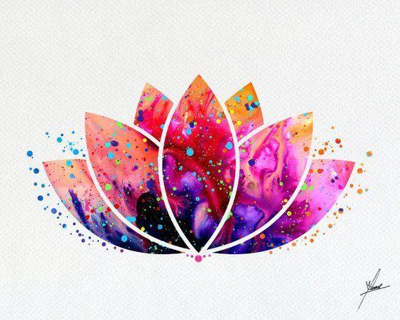 Lotus Flower Yoga Symbol Watercolor Illustrations Art Print Poster Handmade Wall Decor Art Ho...