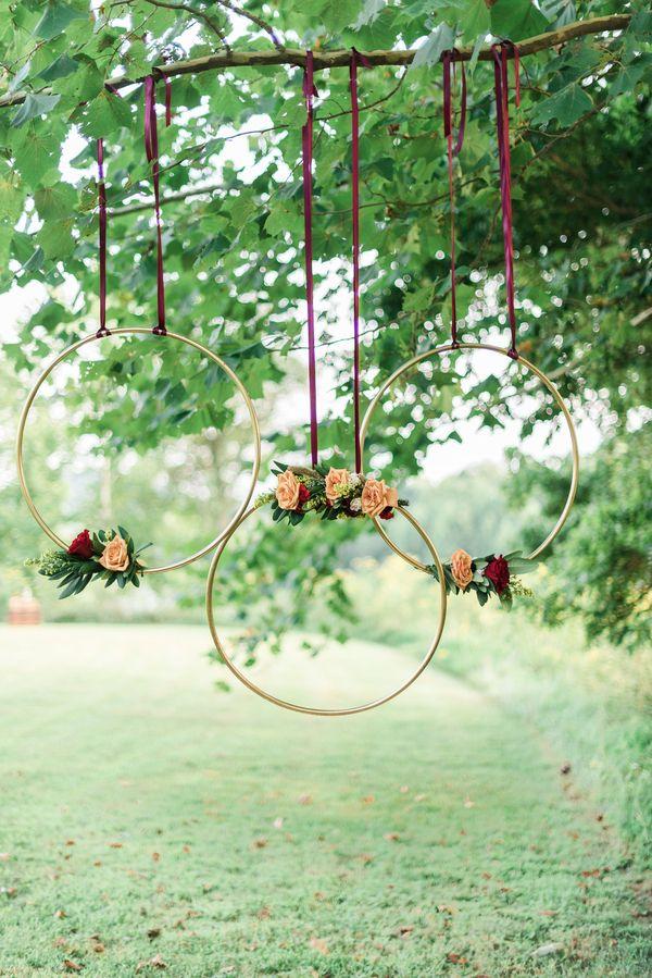 Romantic Lakeside Wedding Inspo in Burgundy & Gold