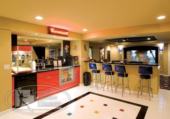 Retro Concession Stand Decor And A Home Theater Concession Stand