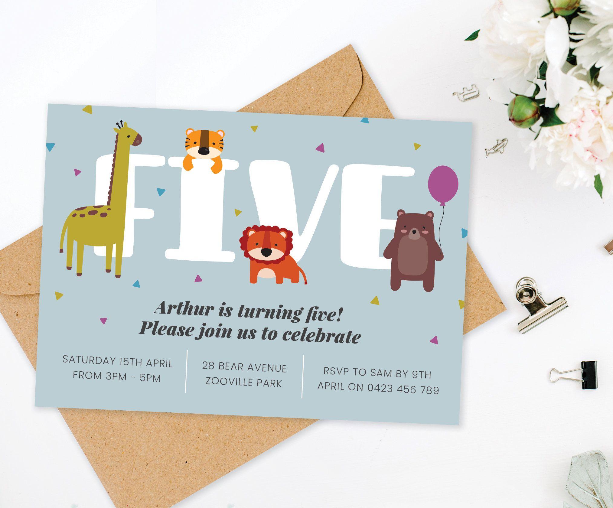 Party Animal 5th Birthday Invitation Party Animal Birthday Wild