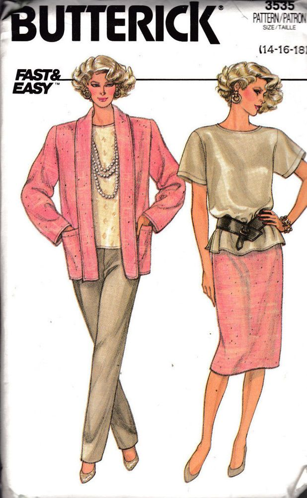 Butterick Sewing Pattern. Misses size 14-16-18. Pants, Skirt, Top ...