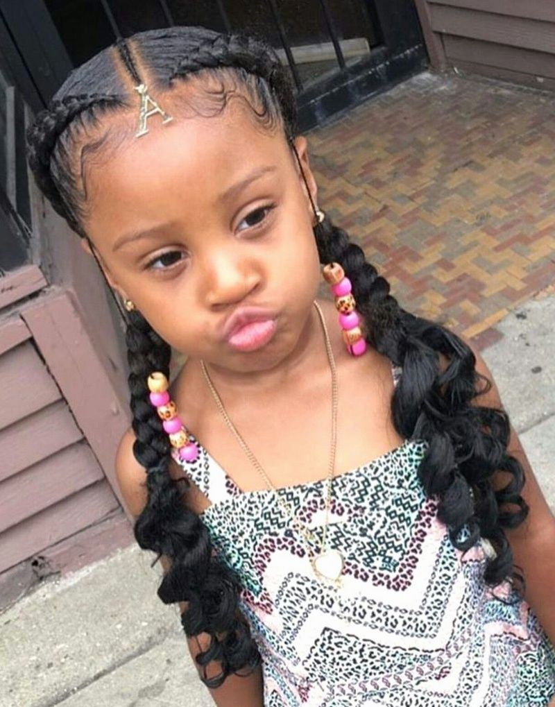 What An Impressive Blend Of Ponytail And Braids Is Made Here In The Hair Styling Of This Litt Lil Girl Hairstyles Black Kids Hairstyles Kids Braided Hairstyles