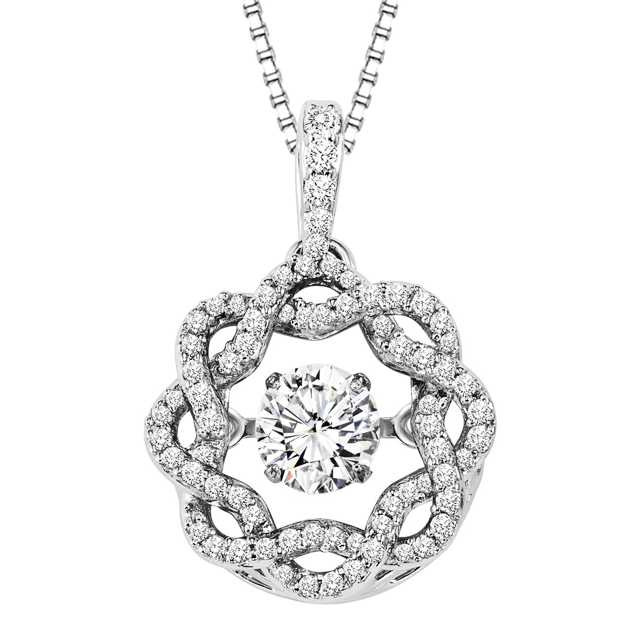 Rhythm of love 14k white gold diamond braided circle design necklace rhythm of love 14k white gold diamond braided circle design necklace aloadofball Images