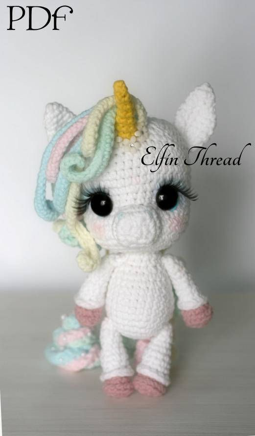 Elfin Thread Lily Rainbow Cheeks The Chibi Unicorn Amigurumi Pdf