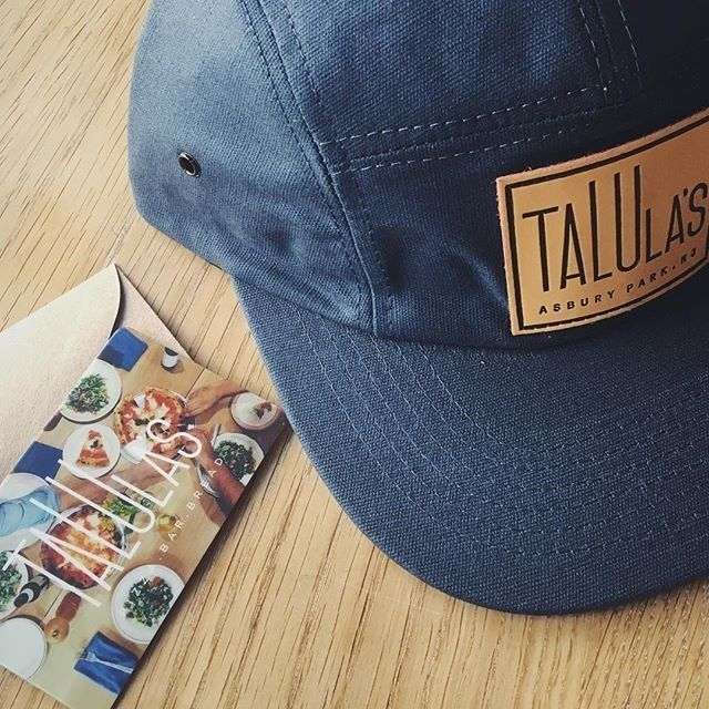 e6b5220ba96 Custom Navy Blue Waxed Canvas Five Panels for  talulaspizza ! Branding  Options Include  Front Debossed Leather Patch with Black Ink