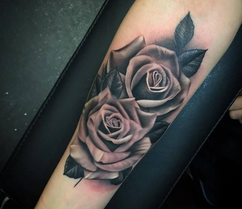 Realistic-Grey-Rose-Tattoos-On-Arm-Sleeve-by-Justin ...
