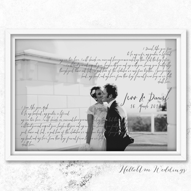 wedding vows framed, 1st anniversary gift, vows, Wedding
