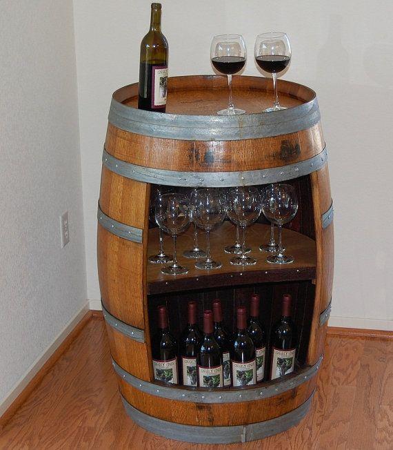 Wine Barrel Bar Table W Internal Shelf By KLBarrels On