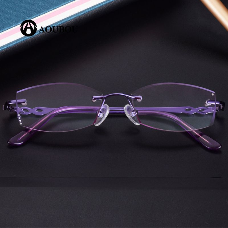 c4e518e07bf Diamond Cut Trimmings Luxury Frame and lens purple Lady s Frameless Reading  Glasses presbyopic canetas eyewear magnifier AB878