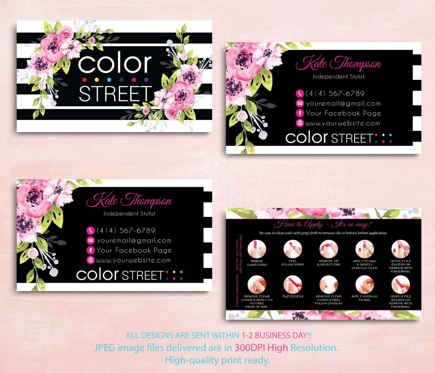 Personalzied Color Street Business Card Color Street Business Cards Cl85this Is Personalized Business Card Color Street Colorful Business Card Business Cards