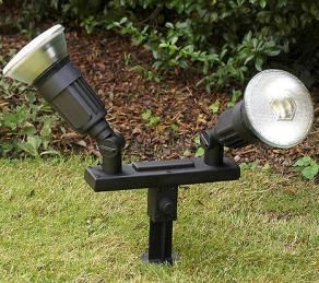 Spike Lights - twin spot lights on a spike for garden lighting & Spike Lights - twin spot lights on a spike for garden lighting ...